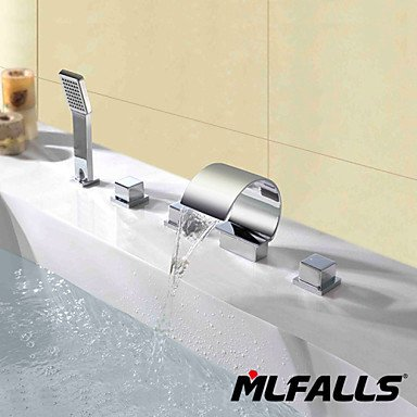Contemporary deck posted triple waterfall spray handle bathroom faucet with shower