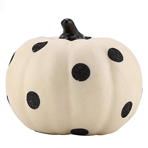 Zerodis Cute Pumpkin Ornament PVC Dots Pattern Decorative Pumpkin for Halloween Autumn Ornament Tabletop Decor(White) -