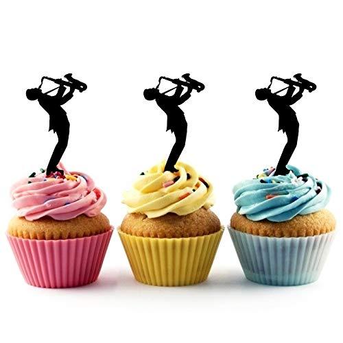 TA0788 Musician Saxophone Silhouette Party Wedding Birthday Acrylic Cupcake Toppers Decor 10 pcs