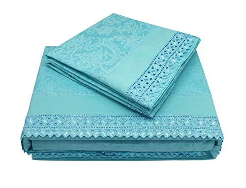 (MARQUESS Microfiber Sheet Set-100% Brushed Lace Breathable Lightweight 4-Piece Sheets, Wrinkle Resistant, Soft& Cool Embroidery Bedding Summer Damask Style Printing Design(Limpet Shell, King))