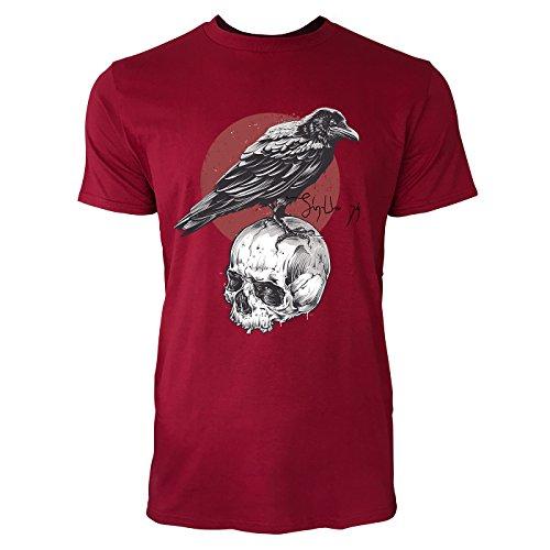 SINUS ART ® Rabe auf Totenschädel Herren T-Shirts in Independence Rot Fun Shirt mit tollen Aufdruck