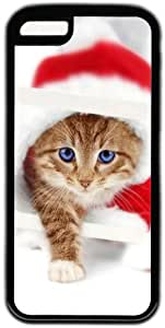Cute Cat In Christmas Hat Theme Case for IPhone 5C PC Material Black