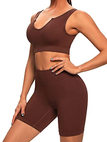 Buscando Ribbed Yoga Outfits Workout Sets for Women 2 Piece Shorts Seamless High Waist Leggings Sports Bra Crop Top Gym…