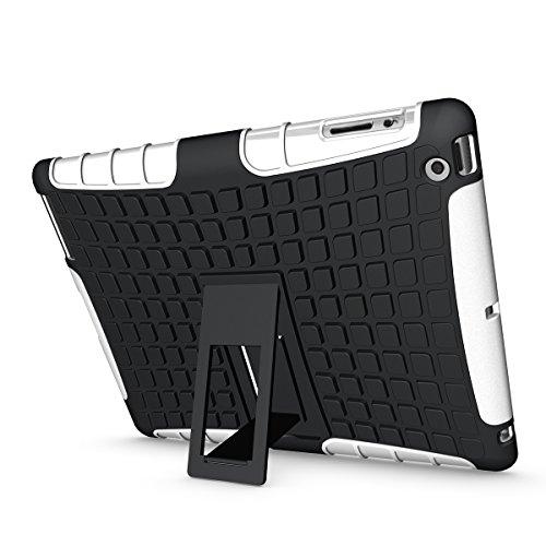 iPad 2/ 3/ 4 Funda,COOLKE Duro resistente Choque Heavy Duty Case Hybrid Outdoor Cover case Bumper protección Funda Para Apple iPad 2/ 3/ 4 - Azul Blanco