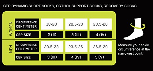 Size IV CEP Mens Dynamic+ Short Compression Socks Ankle Circumference: 9.5-10-Inch , Black//Grey