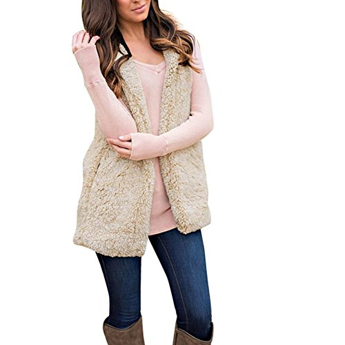 Jacket Coat Misaky Up Flannel Women's Zip ' Beige Winter Vest Warmt Hoodie Sleeveless 4OqvHw4