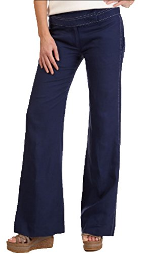 Nautica Womens Navy Blue Pick Stitch Linen Pants (8)