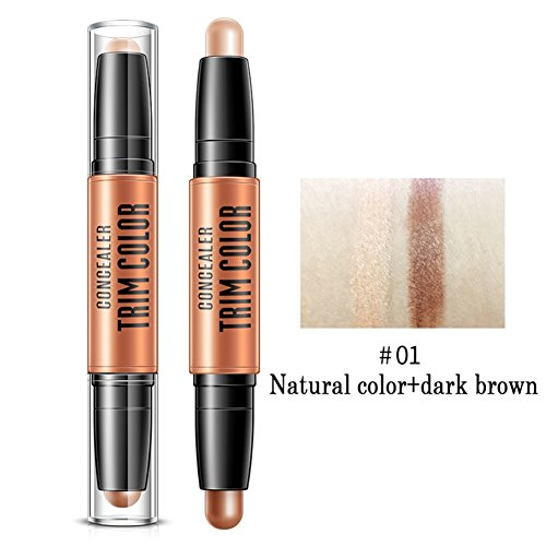 Sunsent Double-ended 2 in 1 Contour Stick Highlighter Contouring Bronzer 3D Pen Face Makeup Concealing Blemish Stick 1PC