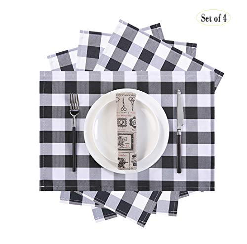 MASO DEREVE Buffalo Check Placemats, Table Mats Set of 4,Heat Resistant Kitchen Tablemats for Dining Table (Black and White) (Kitchen Placemats Table For)