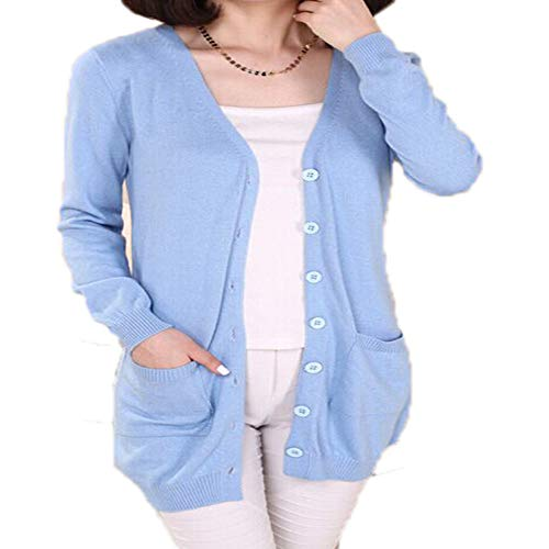 Molif Wool Sweater Medium Long Cashmere Cardigan Women Loose Sweater Outerwear Coat with Pockets Sky Blue XL