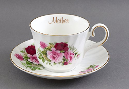 English Fine Bone China MOTHER cup and saucer - SUMMERTIME ROSE
