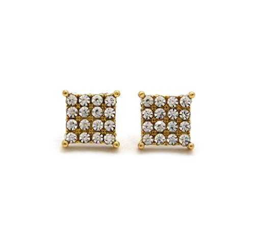 Pierced Lucite Earrings (4 Stone Row Concave Square Shape Stud Pierced Earrings w/ Lucite Box Display, Gold-Tone)