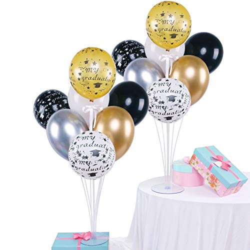 Graduation Print Balloons DIY Table Balloon Stand Kit 2 Sets Balloon Holder Sticks 7 Cups and 1 Base for Celebrate Graduation Party Decorations 28