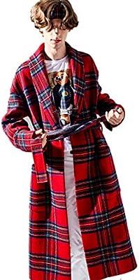 Abrigos Abrigo de lana para Hombres Abrigo Largo de Solapa de Lana Abrigo de Doble hilera Abrigo Doble a Cuadros (Color : Red, Size : XL/180)