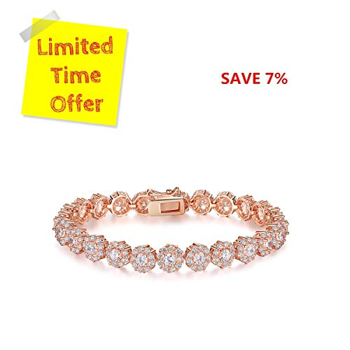 (BAMOER Classic Luxury Rose Gold Plated Bracelet with Sparkling White Cubic Zirconia Stones for Women Grils Perfect Christmas Gift for Her 7.5)
