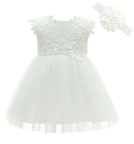 Greatop Baby Girls Dress Christening Baptism Party Formal Dress(White(Style 2),6M/6-12Month)