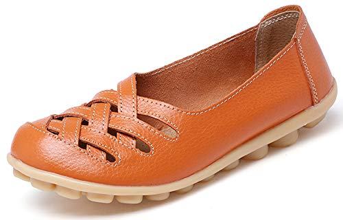 UJoowalk Women's Casual Hollow Out Loafer Flat Shoes Orange-10