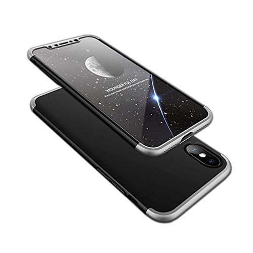 Price comparison product image Fushengxin iPhone X Case, Ultra-Thin Hard Slim Full Protection Shockproof Cover for Apple iPhoneX iPhone 10Silver-Black