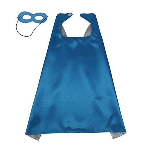 Diy Superhero Costume Boy (Child Cape DIY Capes for Toddler Boys Royal Blue and Silver Double Color & Blue Mask)