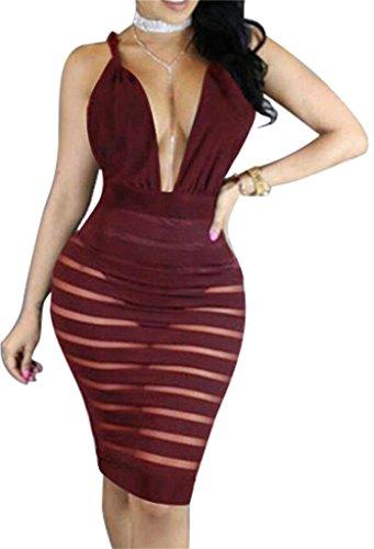 Domple Mesh Midi Open Cut Low Bodycon Dress Stitching Wine Back Club Women's Red Sexy raqZr0