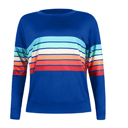 〓COOlCCI〓Women's Casual Round Neck Color Stripe Long Sleeve Sweatshirt T-Shirts Tops Blouse Pullover Hooded Sweatshirt Blue