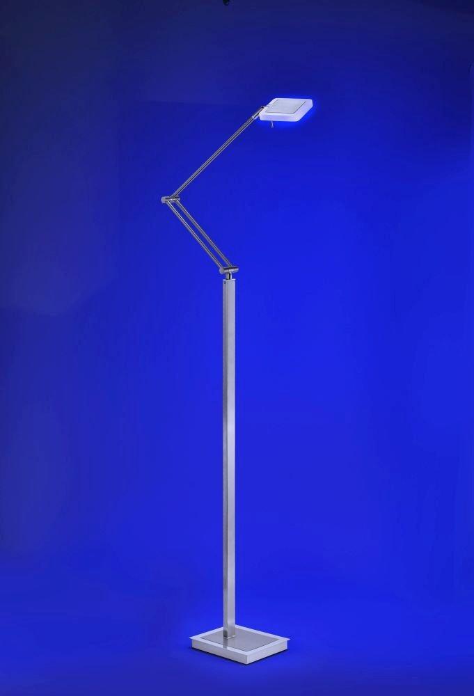 LED-Stehleuchte RGBW Lichtfarbwechsel dimmbar Edelstahl Wohnzimmer ...