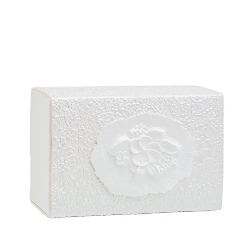 The FAVORITE PLACE Burial Urn Box, (Large Flower at Peace Box), Biodegradable for Ground Burial, Scattering Cremated Ashes in Earth Friendly Eco Urn, Adult Size (Large, Pearl White)