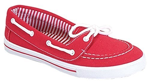 RL Perla 82 Canvas Lace up Flat Slip On Boat Comfy Round Toe Sneaker Tennis Shoe Red 5