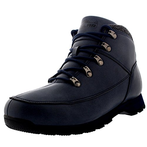Polar Mens Mountain Rambling Hiker Waterproof Trail Outdoor Walking Tweed Collar Ankle Boot - Navy - US11/EU44 - WT0008