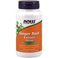 NOW Supplements, Ginger Root Extract 250 mg, Temporary Relief of Upset Stomach*, Digestive Support*, 90 Veg Capsules