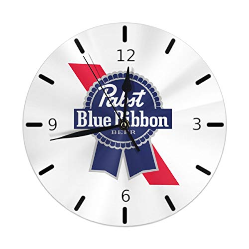 Flypo-yoc Pabst Blue Ribbon Beer Logo Round Wall Clock - Silent Non Ticking Decorative for Home Office School Clock Art]()