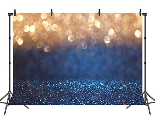 - Blue with Gold Spots Photography Backdrop (Not Glitter) Baby Photo Background Photo Booth Props 7x5FT