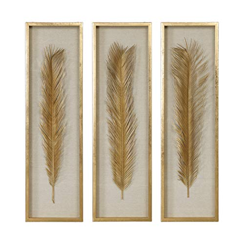 (My Swanky Home Luxe Tall Gold Palm Leaf Wall Art Set 3 | Organic Shape Shadow Box Sculpture)