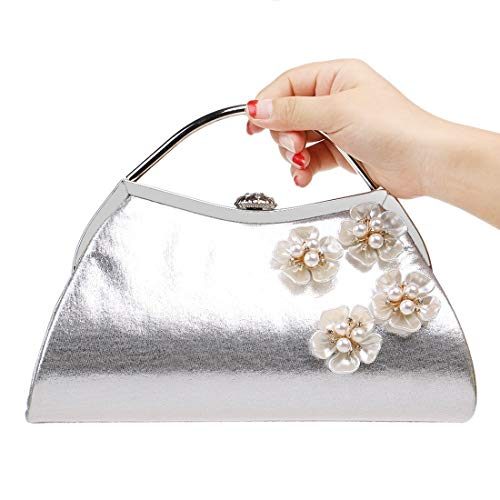 Shoulder Handbag Women Silver Bag JESSIEKERVIN Evening Purse Bag Flowers Clutch WSxPw