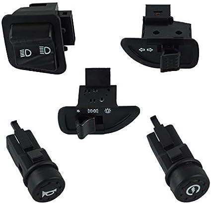 Sygjal Interruptores de bot/ón Conjunto de botones de arranque de luz de haz de luz alta baja de luz de bocina de bot/ón de interruptor de motocicleta for piaggio scooter Interruptores de bot/ón pulsad