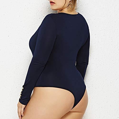 Jumpsuit Combinaison Bleu Col pantalon Pyjamas Rond Slim Décontractée Moulante Conqueror À Body Sculpant Femme Glissière Costume Sexy Manches Longues Foncé Fermeture xoBerdCW