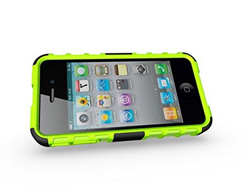 Voguecase® für Apple iPhone 4 4G 4S hülle, (Harte Rückseite) Hybrid Hülle Schutzhülle Case Cover (Kickstand/ Grün) + Gratis Universal Eingabestift