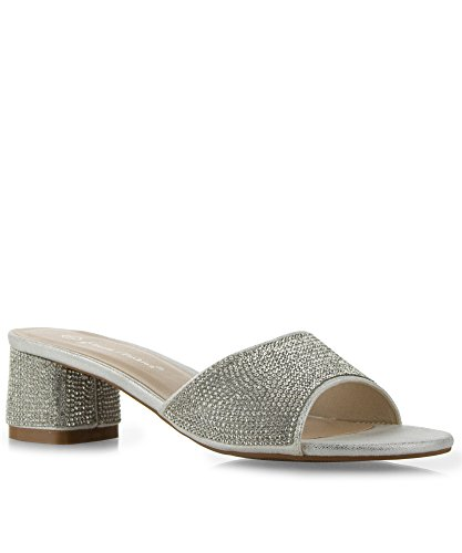 RF ROOM OF FASHION Mesa-01 Slip on Open Toe Rhinestone Jeweled Mule Heel Sandals Silver (8)