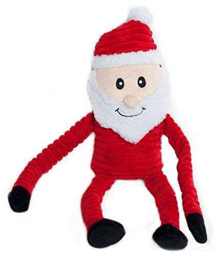 ZippyPaws Holiday Crinkle - Squeaky Plush Dog Toy (Santa, Large) (Plush Puppies Santa)