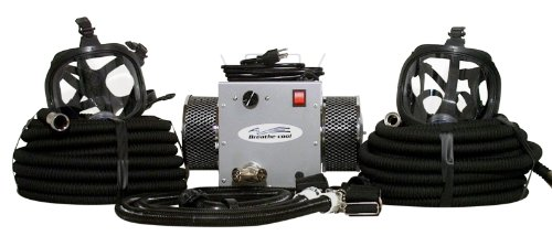 2-man full face supplied air respirator w/50' air hoses by Breathe-Cool