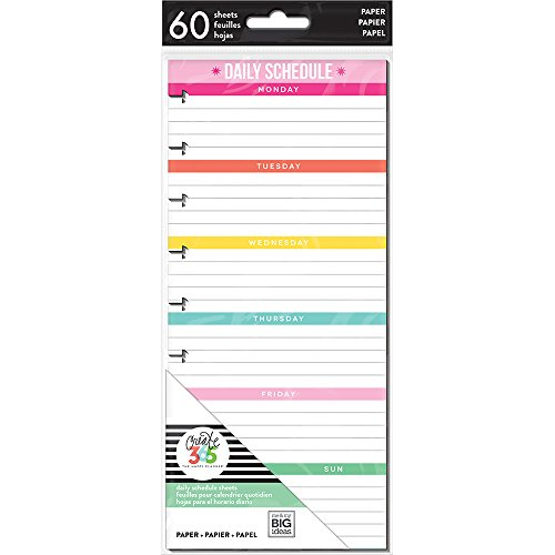 The Happy Planner Daily Planning Half Sheets - 60 Pre-Punched Double-Sided Pages - Daily Schedule & Checklist Layouts - Organize, Prioritize, Make Lists, Take Notes - Classic Size