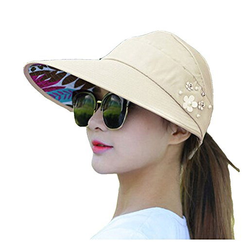 FAVOLOOK Ladies Floppy Cap, Flower Bucket Sun Hats with Large Wide Ponytail/Folding Brim Beach Fedora Summer Reversible Beach Wear Cap for Women (Beige)