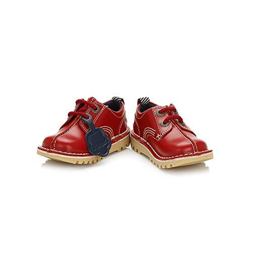 Kickers Enfants Dark Rouge Kick Reverse Cuir Chaussures