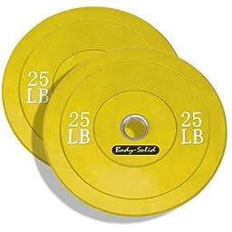 Body-Solid Yellow Bumper Plates - 25lb. Pair