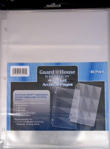 GuardHouse Shield 4 Pocket Currency Storage Pages for Modern and Large Bills Pack of - Currency 3 Pocket