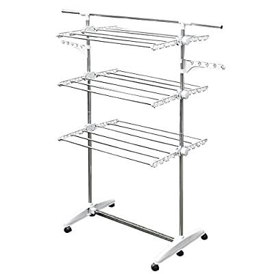 Stainless Drying Clothes Rack - Portable Rolling Drying Rack for Laundry Baby Clothes Drying Hangers Rack , Stainless  Drying Racks for Laundry, 3 Tier Drying Racks for Laundry by KP Solutions - At 5 feet tall you won't stoop to hang your clothing. Long garments won't drag on the ground sturdy steel rack folds nearly flat for easy storage, ready to pull out and spring back into action Wide shelves collapse compactly: each shelf folds out to around 2' wide and has 7 rods - laundry-room, entryway-laundry-room, drying-racks - 41l2lheKUqL. SS400  -
