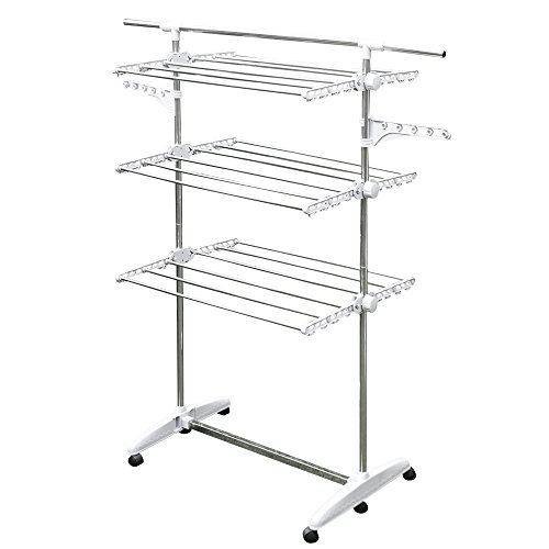 BYC Foldable 3 Tier Laundry Clothes Drying Rack, Rolling Sorter and Organizer, Stainless Steel Rods, Hangers, Swivel Casters