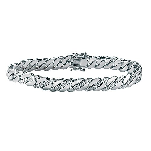 Palm Beach Jewelry Men's Platinum-Plated Curb-Link Bracelet (9mm), Diamond Accent, 8.5