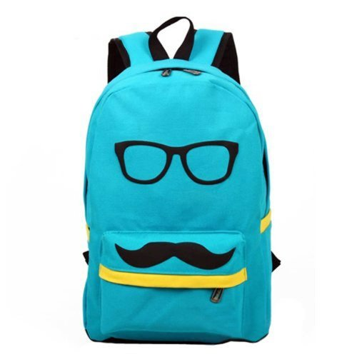 Eyourlife Mustache and Glasses Canvas Campus Bag Laptop Book Bags School Travel Sports Outdoor Backpack For Boys Girls blue