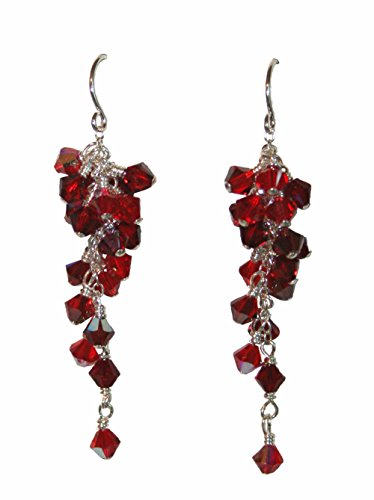 (Ashley Rose Grapevine Dangle Earrings in Reds)
